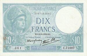 FRANCE   10 Francs   1939   P 84   XF