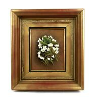 Antique Oil Painting of Floral Still Life Primroses Flowers Bouquet Framed