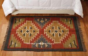 New Indian Traditional Weaver Tribal Wool Jute Kilim Rug Carpet Door MAT,Carpet