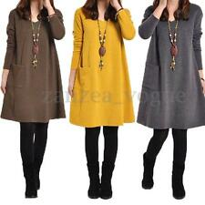 Zanzea Women Loose Long Sleeve Top Blouse T-shirt Tunic Mini Maxi Dress Pullover