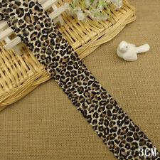 """5 Yards Pretty Leopard Stretch Lace Trim 2 1/4"""" Wide"""