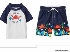 NEW GYMBOREE FUN IN THE SUN SWIMSUIT AND RASHGUARD TOP NWT  SIZE 18-24  MONTHS