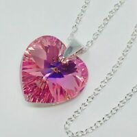 925 Silver Swarovski Elements Crystal Heart Necklace Pendant Jewellery Pink