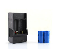 2Pcs 880mAh 16340 CR123A Rechargeable Battery Blue Wall Charger High Quality