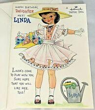 Vintage HALLMARK Birthday PAPER DOLL Greeting Card LINDA ~ Unused Cond.
