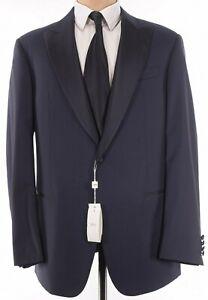 Armani Collezioni NWT Dinner Jacket Size 46L Geometric Blue Wool W/ Peak Lapel