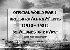 WORLD WAR 1 BRITISH ROYAL NAVY LISTS - 62 VOLUMES 2 DVD's (1913-1921) WW1 MEDAL