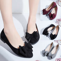 Women Fashion Flats Bow Pointed Toe Slip on Suede Casual Comfort Shoes Size