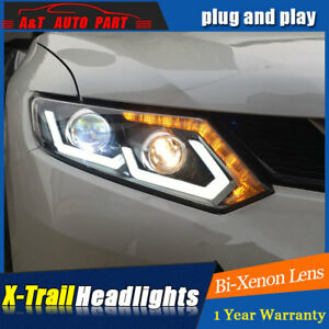 Headlights assembly For Nissan Rogue Bi-xenon Lens Projector LED DRL 2014-2016