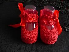 Ruby Red Crochet Baby Booties with Strap