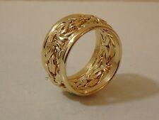 14K YELLOW GOLD BYZANTINE WEDDING BAND RING NEW 3/4 WIDE SIZE 7 TURKEY