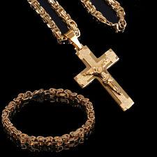 Edelstahl Königs Panzer Kette Kreuz Jesus Anhänger 60 cm Gold Vergoldet  Armband