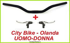 MANUBRIO + Leve FRENO INCLUSE bici City Bike / Olanda / Uomo-Donna in ALLUMINIO