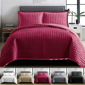 3 Piece Quilted OSCA Embossed Bedspread Bed Throw Single Double King Size