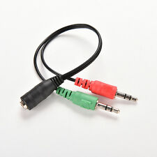 3.5mm Female to 2 Dual Male Jack Plug Audio Stereo Headset Mic Splitter CablesSL