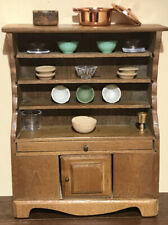 Dollhouse Miniature Smaller Country Kitchen Dining Hutch & Accessory Lot