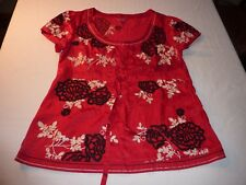 MONSOON SIZE 14 PRETTY RED FLORALEMBROIDERY SILK/COTTON TOP