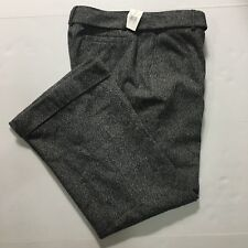 Context Wool Blend Dress Pant & Belt Black White Lined Cuffed Womens 12 Petite