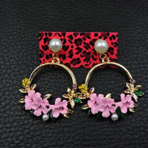 Betsey Johnson Fashion Woman Alloy Rhinestone Enamel Flowers Pearl Earring Jewel