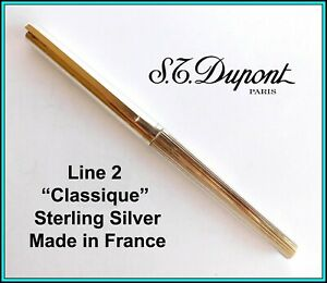 S.T. DUPONT Classique Sterling Silver ROLLERBALL PEN with New Refill - Excellent