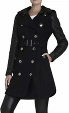 BCBG Isabella leather sleeve quilted trench coat navy blue NEW size 0 / XXS