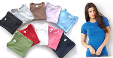 New Women's Plain TShirt Tees Ladies Girl Vest Basic Top Fashion Shirt Size 8-22