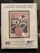 ART DECO FLOWERS LATCH HOOK KIT NATIONAL YARN 20 X 27 NEW  IN THE BOX