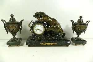 Antique Spelter bronze marble clock set Cartier panther snake set