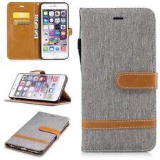 Tasche für Apple iPhone 6s Plus Jeans Cover Handy Schutz Hülle Case Wallet Grau