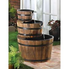 Rustic Three Tier Whiskey Wine Apple Barrel Outdoor  Pond Water Fountain Kit