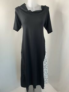 XENIA DESIGN • Anyc Black & White Spot Textured Panel Maxi Dress • Size L • New