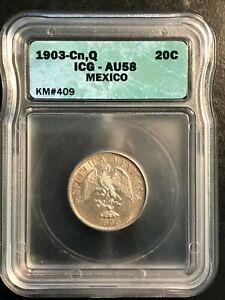 1903-Cn, Q Mexican 20 Centavos graded AU 58 by ICG