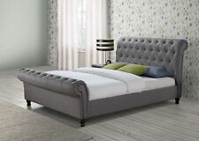 castello sleigh grey fabric 6ft 180cm super king size bed frame