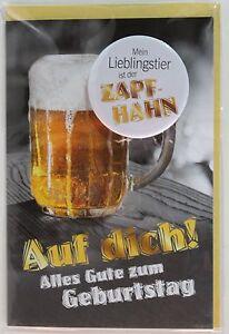 """Geburtstagskarte mit Button/ originell / Humor / """"Zapfhahn """" *NEU*"""