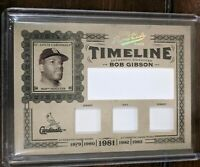 2005 Prime Cuts Timeline #T35  Bob Gibson Sample Relic, 1/1 HOF Cardinals