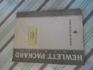 COLLECTABLE RARE HP HEWLETT PACKARD 100D FREQUENCY STANDARD MANUAL 1956 &BIBLI