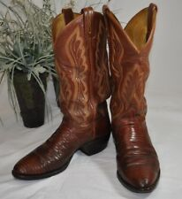 Vintage Tony Lama Teju Lizard Foot Cowboy Boots~8540~Men's 8D~Brown Kid Leather