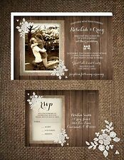 Wedding Invitations Wood Burlap & Lace Flourish  50 Invitations & RSVP Postcards
