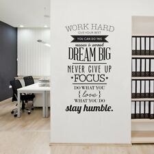 3D Art  Inspirational Wall Vinyl Decals Stickers Quotes Office Work Removable