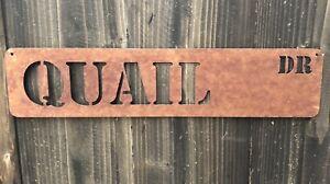 Rustic Metal Quail Drive Sign Rusted Farmhouse Wall Decor **Free Shipping**