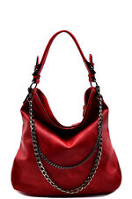 New Red Double Layered Chain Accent Hobo Handbag Purse