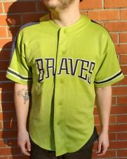 RARE Lime Green Atlanta Braves GENUINE MERCHANDISE BY STARTER MLB Jersey Large