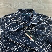 Perry Ellis Button Up Shirt Mens Blue White Short Sleeve Small Geometrical