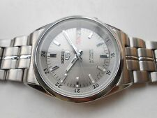 RARE GRAY FACE VINTAGE SS DAY DATE SEIKO 5 MILITARY LOOK GENTS AUTOMATIC WATCH