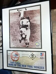 YOGI BERRA PLAQUE WITH FIRST DAY COVER YANKEE STADIUM HOME OF THE NY YANKEES
