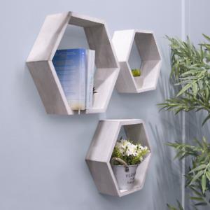 Set of 3 wooden Honeycomb hexagon Floating shelves White wood Geometric Storage