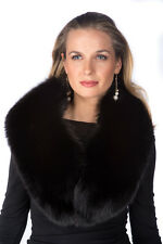 Black Real Fox Fur Collar Stole Scarf for Women