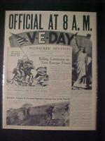 VINTAGE NEWSPAPER HEADLINE~WORLD WAR 2 GERMANY NAZI ARMY SURRENDERS V-E DAY 1945