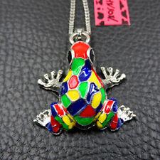 Betsey Johnson Fashion Multi-Color Enamel Cute Frog Pendant Necklace Chain