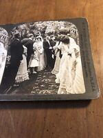 Vintage 1902 Congratulations Wedding Bride & Groom White Stereoview Photo Card
